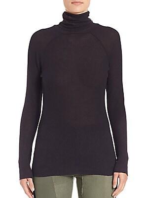 Stretch Cotton & Wool Turtleneck Sweater