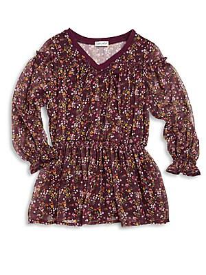 Little Girl's Floral-Print Smocked Dress