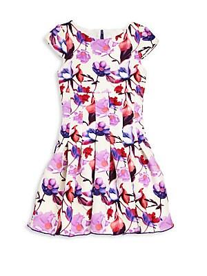 Girl's Floral Print Cap Sleeve Dress