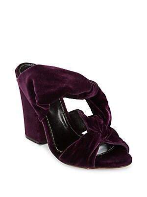 Block Heel Velvet Sandals