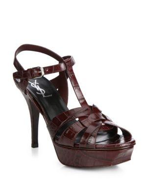 Tribute Croc-Embossed Leather Platform Sandals Yves Saint Laurent