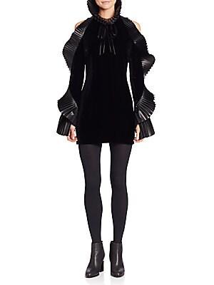 Priscilla Leather-Trimmed Velvet Dress