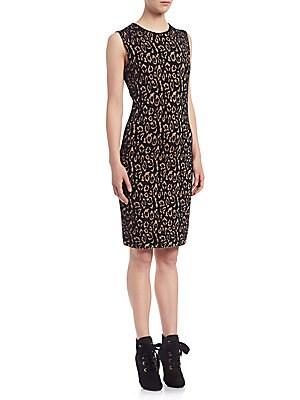 Sleeveless Leopard Jacquard Dress