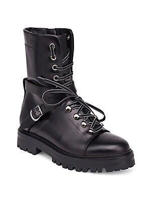 Rockstud Leather Combat Boots