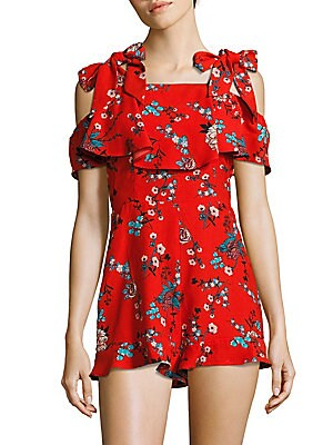 Ruffled Cold-Shoulder Printed Romper