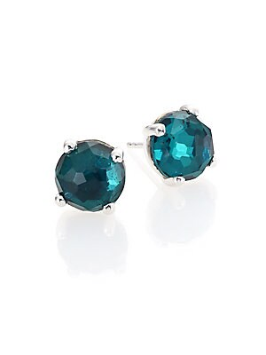 Rock Candy Wonderland Kelly Pyrite, Clear Quartz & Sterling Silver Doublet Mini Stud Earrings