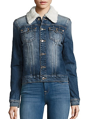 Western Dusty Faux Shearling Collar Denim Jacket