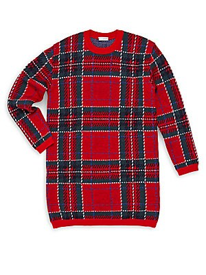 Little Girl's & Girl's Plaid Sweater Dress