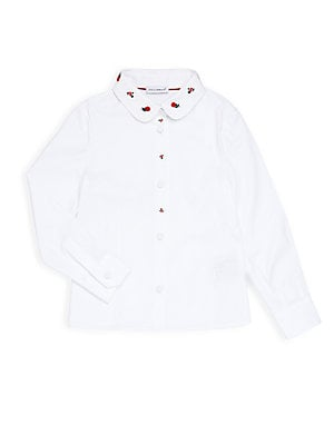 Unisex Embroidered Peter Pan Collar Shirt
