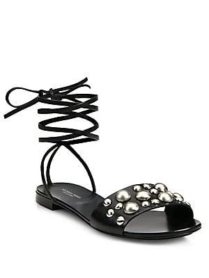 Mica Studded Leather Lace-Up Sandals