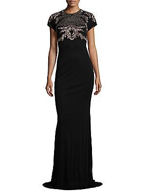 Metallice Lace Applique Gown