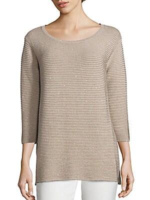 Sequin Silk-Blend Sweater