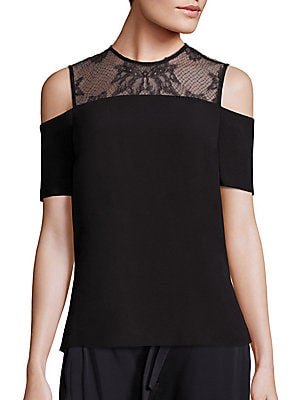 Glyn Lace Yoke Cold-Shoulder Top