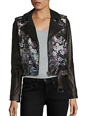 Cooper Floral-Print Leather Moto Jacket