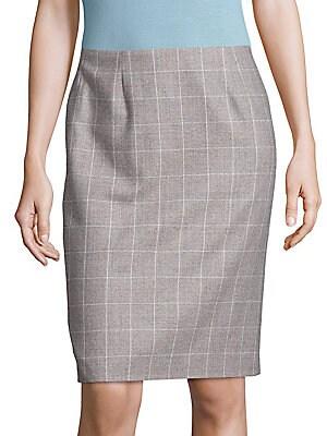Vileana Windowpane Pencil Skirt