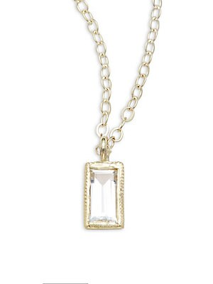Click here for Colette White Sapphire & 14K Yellow Gold Pendant N... prices