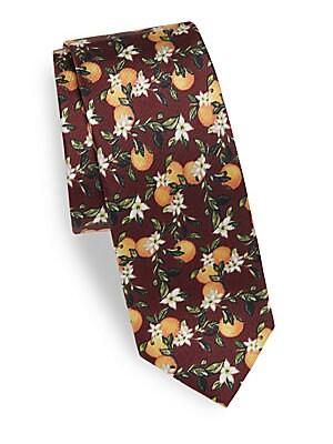 Orange-Printed Silk Tie