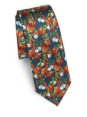 Fruit-Printed Silk Tie