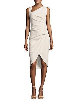 Asymmetric-Neck Wrapped Sheath Dress