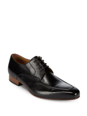 Square Toe Leather Derby Shoes Massimo Matteo
