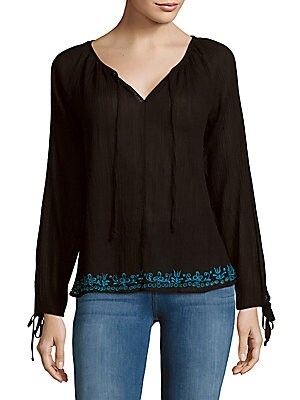 Solid Embroidered Peasant Blouse
