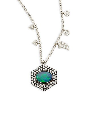 Click here for Diamond  Opal & 14K White Gold Pendant Necklace prices