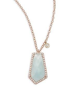 Diamond, Milky Aquamarine & 14K Rose Gold Pendant Necklace