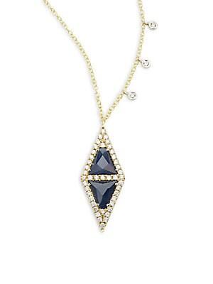 Diamond, Blue Sapphire & 14K Yellow Gold Pendant Necklace