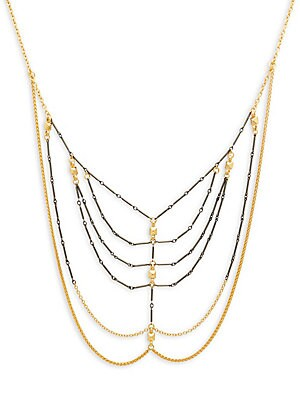 Mhart Core Webbed 18K Yellow Gold & Sterling Silver Chain Necklace