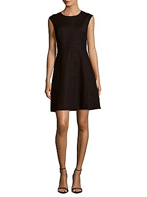 Jewelneck Cap-Sleeve Dress