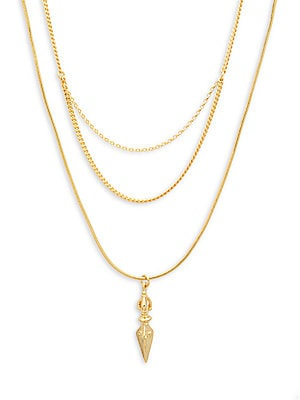 18K Gold & Sterling Silver Triple Layer Necklace