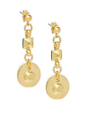 18K Yellow Gold Studded Drop Earrings