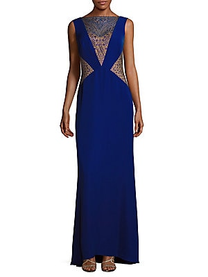 tadashi shoji female studded sleeveless dress