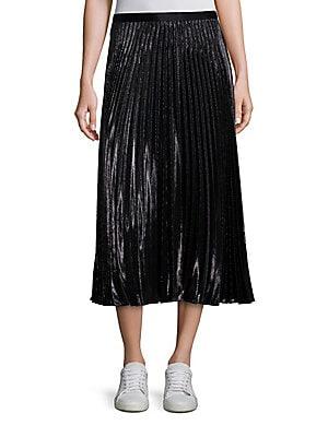Heavyn Metallic Pleated Midi Skirt