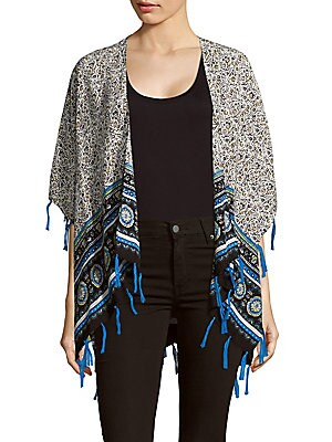 Printed Open-Front Cape