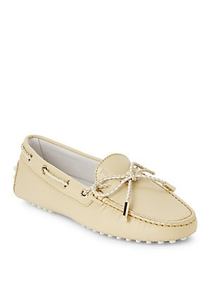 Braided-Trim Leather Shoes