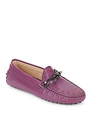Perforated Leather Moccasins