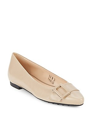 Leather Point-Toe Ballet Flats