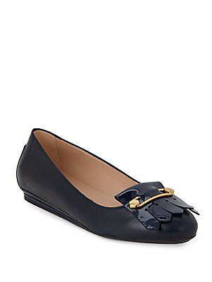 Fringed Leather Ballet Flats