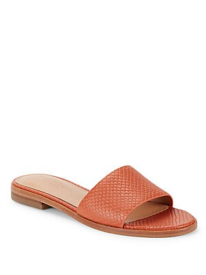 Textured Leather Slide Sandals