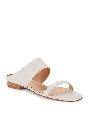 Solid Leather Slide Sandals
