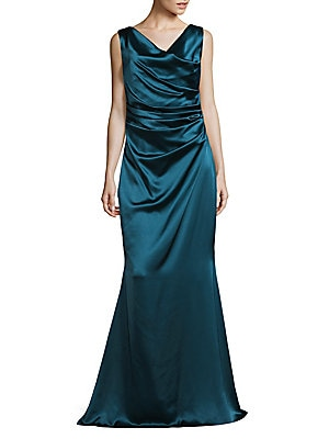 Ruched Flared Gown
