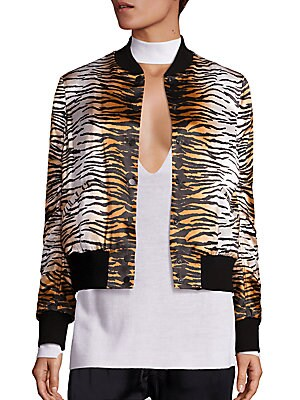 Lloyd Silk Tiger-Print Bomber Jacket