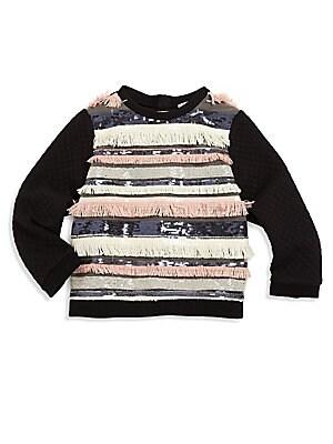 Girl's Sequin Fringe Sweater