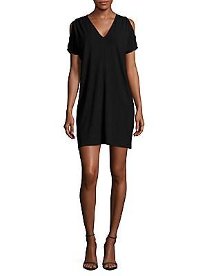 Solid Shoulder-Cutout Dress