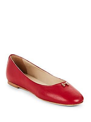 Halston Leather Ballet Flats
