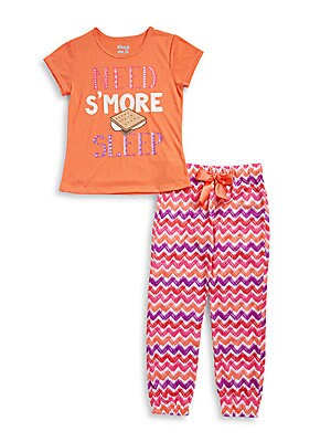 Girl's Glitter S'More Graphic T-Shirt and Pajama Pants Set