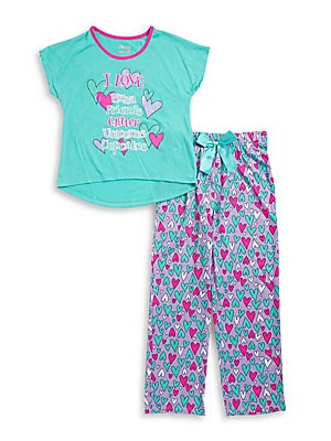 Girl's Glitter Graphic T-Shirt and Heart Pajama Pants Set