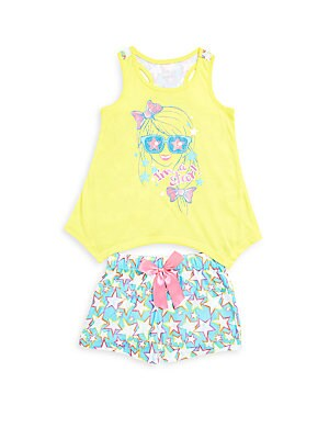 Girl's Two-Piece Tank Top & Printed Shorts Set