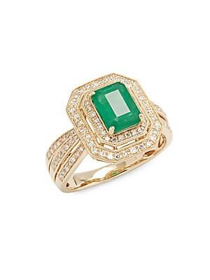 White Diamond, Emerald & 14K Yellow Gold Ring